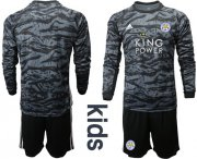 Wholesale Cheap Leicester City Blank Black Goalkeeper Long Sleeves Kid Soccer Club Jersey