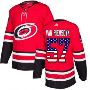 Wholesale Cheap Adidas Hurricanes #57 Trevor Van Riemsdyk Red Home Authentic USA Flag Stitched Youth NHL Jersey