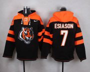 Wholesale Cheap Nike Bengals #7 Boomer Esiason Black Player Pullover NFL Hoodie