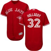 Wholesale Cheap Blue Jays #32 Roy Halladay Red Flexbase Authentic Collection Canada Day Stitched MLB Jersey