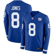 Wholesale Cheap Nike Giants #8 Daniel Jones Royal Blue Team Color Men's Stitched NFL Limited Therma Long Sleeve Jersey