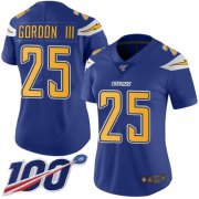 Wholesale Cheap Nike Chargers #25 Melvin Gordon III Electric Blue Women's Stitched NFL Limited Rush 100th Season Jersey
