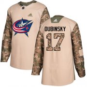 Wholesale Cheap Adidas Blue Jackets #17 Brandon Dubinsky Camo Authentic 2017 Veterans Day Stitched Youth NHL Jersey