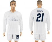 Wholesale Cheap Real Madrid #21 Morata Marine Environmental Protection Home Long Sleeves Soccer Club Jersey