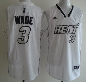 Wholesale Cheap Miami Heats #3 Dwyane Wade White With Silvery Fashion Jersey