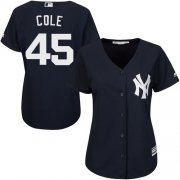 Wholesale Cheap Yankees #45 Gerrit Cole Navy Blue Alternate Women's Stitched MLB Jersey
