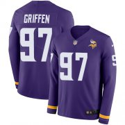Wholesale Cheap Nike Vikings #97 Everson Griffen Purple Team Color Men's Stitched NFL Limited Therma Long Sleeve Jersey