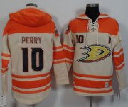 Wholesale Cheap Ducks #10 Corey Perry Cream/Orange Sawyer Hooded Sweatshirt Stitched NHL Jersey