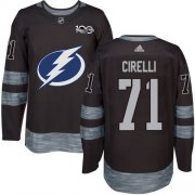 Cheap Adidas Lightning #71 Anthony Cirelli Black 1917-2017 100th Anniversary Stitched NHL Jersey