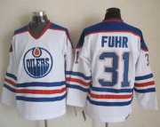 Wholesale Oilers #31 Grant Fuhr White CCM Throwback Stitched NHL Jersey