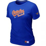 Wholesale Cheap Women's Baltimore Orioles Nike Short Sleeve Practice MLB T-Shirt Blue