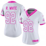 Wholesale Cheap Nike Eagles #92 Reggie White White/Pink Women's Stitched NFL Limited Rush Fashion Jersey