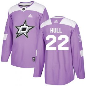 Wholesale Cheap Adidas Stars #22 Brett Hull Purple Authentic Fights Cancer Stitched NHL Jersey