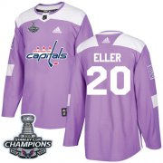 Wholesale Cheap Adidas Capitals #20 Lars Eller Purple Authentic Fights Cancer Stanley Cup Final Champions Stitched NHL Jersey