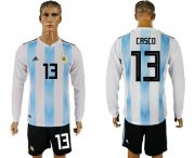 Wholesale Cheap Argentina #13 Casco Home Long Sleeves Soccer Country Jersey