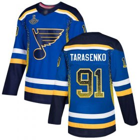 Wholesale Cheap Adidas Blues #91 Vladimir Tarasenko Blue Home Authentic Drift Fashion Stanley Cup Champions Stitched NHL Jersey