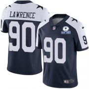 Wholesale Cheap Nike Cowboys #90 DeMarcus Lawrence Navy Blue Thanksgiving Men's Stitched With Established In 1960 Patch NFL Vapor Untouchable Limited Throwback Jersey