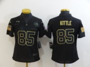 Wholesale Cheap Women's San Francisco 49ers #85 George Kittle Black 2020 Salute To Service Stitched NFL Nike Limited Jersey