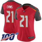 Wholesale Cheap Nike Buccaneers #21 Justin Evans Red Team Color Women's Stitched NFL 100th Season Vapor Untouchable Limited Jersey