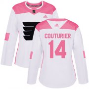 Wholesale Cheap Adidas Flyers #14 Sean Couturier White/Pink Authentic Fashion Women's Stitched NHL Jersey
