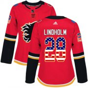 Wholesale Cheap Adidas Flames #28 Elias Lindholm Red Home Authentic USA Flag Women's Stitched NHL Jersey