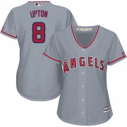 Wholesale Cheap Angels #8 Justin Upton Grey Road Women's Stitched MLB Jersey