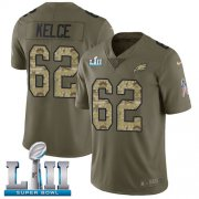 Wholesale Cheap Nike Eagles #62 Jason Kelce Olive/Camo Super Bowl LII Men's Stitched NFL Limited 2017 Salute To Service Jersey