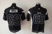 Wholesale Cheap Vikings #69 Jared Allen Black Shadow Stitched NFL Jersey
