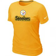 Wholesale Cheap Women's Nike Pittsburgh Steelers Authentic Logo T-Shirt Yellow