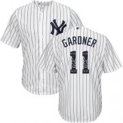 Wholesale Cheap Yankees #11 Brett Gardner White Strip Team Logo Fashion Stitched MLB Jersey
