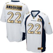 Wholesale Cheap Nike Broncos #22 C.J. Anderson White Men's Stitched NFL Game Super Bowl 50 Collection Jersey