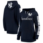 Wholesale Cheap New York Yankees G-III 4Her by Carl Banks Women's Extra Innings Pullover Hoodie Navy