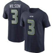 Wholesale Cheap Seattle Seahawks #3 Russell Wilson Nike Team Player Name & Number T-Shirt College Navy