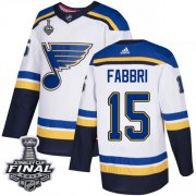 Wholesale Cheap Adidas Blues #15 Robby Fabbri White Road Authentic 2019 Stanley Cup Final Stitched NHL Jersey