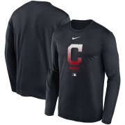 Wholesale Cheap Men's Cleveland Indians Nike Navy Authentic Collection Legend Performance Long Sleeve T-Shirt