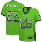 Wholesale Cheap Nike Seahawks #25 Richard Sherman Green Women's Stitched NFL Elite Drift Fashion Jersey