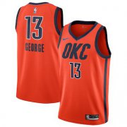 Wholesale Cheap Men's Oklahoma City Thunder #13 Paul George Nike Orange 2018-19 Swingman Earned Edition Jersey