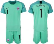 Wholesale Cheap Chile #1 C.Bravo Green Goalkeeper Soccer Country Jersey