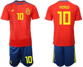 Wholesale Cheap Spain #10 Thiago Home Soccer Country Jersey