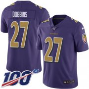 Wholesale Cheap Nike Ravens #27 J.K. Dobbins Purple Youth Stitched NFL Limited Rush 100th Season Jersey