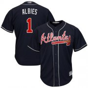 Wholesale Cheap Braves #1 Ozzie Albies Navy Blue Cool Base Stitched Youth MLB Jersey