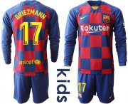 Wholesale Cheap Barcelona #17 Griezmann Home Long Sleeves Kid Soccer Club Jersey