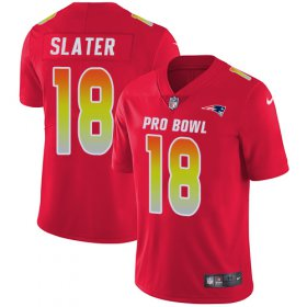 Wholesale Cheap Nike Patriots #18 Matt Slater Red Men\'s Stitched NFL Limited AFC 2018 Pro Bowl Jersey