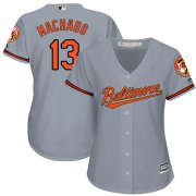 Wholesale Cheap Orioles #13 Manny Machado Grey Road Women's Stitched MLB Jersey