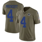 Wholesale Cheap Nike Cowboys #4 Dak Prescott Olive Youth Stitched NFL Limited 2017 Salute to Service Jersey