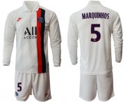 Wholesale Paris Saint-Germain #5 Marquinhos Sec Away Long Sleeves Soccer Club Jersey