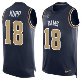 Wholesale Cheap Nike Rams #18 Cooper Kupp Navy Blue Team Color Men\'s Stitched NFL Limited Tank Top Jersey