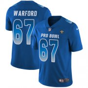 Wholesale Cheap Nike Saints #67 Larry Warford Royal Men's Stitched NFL Limited NFC 2019 Pro Bowl Jersey