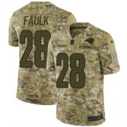 Wholesale Cheap Nike Rams #28 Marshall Faulk Camo Men's Stitched NFL Limited 2018 Salute To Service Jersey