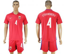 Wholesale Cheap Norway #4 Strandberg Home Soccer Country Jersey